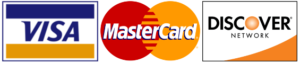 Credit Card Logos, including Visa, Mastercard, and Discover.